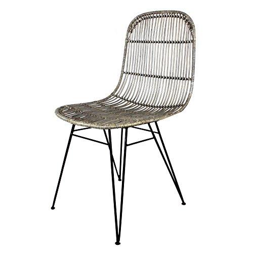 Decoración Vintage Espresso - Silla ratán, estructura de hierro natural, 53 x 57 x 99 cm, altura de asiento 46 cm, color gris