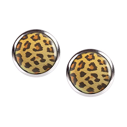 Mylery Ohrstecker Paar mit Motiv Leo Leopard Leoparden-Muster silber 12mm (Bio-leopard)