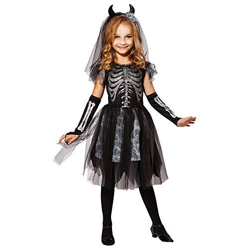Mädchen Kostüm Skelett Silber - Widmann 07488 Kinderkostüm Skelett Braut, 158
