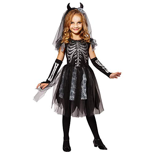 Braut Kostüm Schwarz - Widmann 07488 Kinderkostüm Skelett Braut, 158