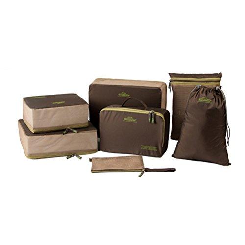 Aosbos 7-teilig Kleidertaschen-Set Reisetasche in Koffer Wäschebeutel Schuhbeutel Kosmetik Aufbewahrungstasche (Braun) Orange