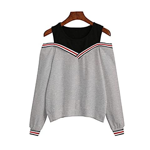 Women Off Shoulder Sweatshirt , Xinantime Sexy Blouse Long Sleeve Tops Pullovers (Asian Size:S, Gray)