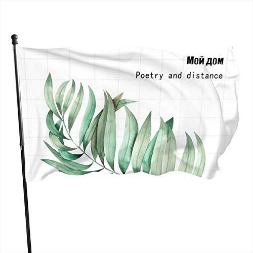 Jacklee Grüne Blatt-Poesie Distanz quadratische Gartenflaggen Dekorative Flaggen Premium Offizielle Flagge mit Ösen Polyester Deluxe Outdoor Banner 2020 für alle Jahreszeiten & Urlaub, 91 x 152 cm