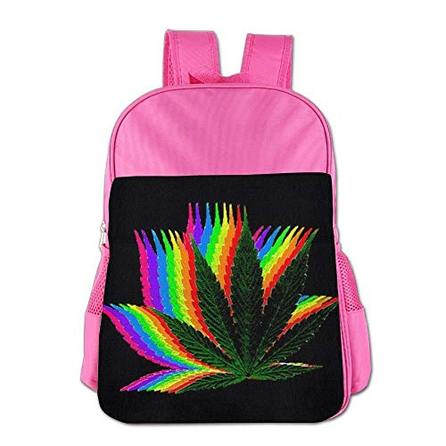 Rainbow Crazy Weed Cool Marijuana Children School Backpack Carry Bag for Youth Boy Girl