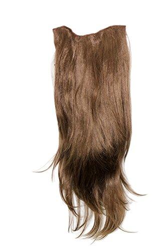365 Kostüm Party - Clip-in Haarteil mit 7 Klammern, 3/4 Perücke Hell-Braun 60 cm H9505-10 Haarverlängerung Wig