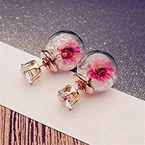 xel_uu.11 Glaskugel Ohrstecker Strass Trocken Blume Kristall Kugel Doppel-Ohrringe für Frauen, weiß, Same - Trockene Kugeln