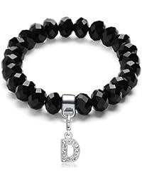 Morella pulsera con perlas de cristal de color negro y colgante Charms letra D para damas, en bolsa de terciopelo