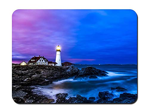 Portland Lighthouse Houses Coast sea Dusk Blue - Customized Rectangle Non-Slip Rubber Mousepad Gaming Mouse Pad 8.6