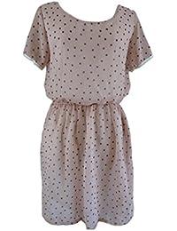 Unique boutique rose tupfenkleid noir taille 34/36/38 court häkelbordüre robe