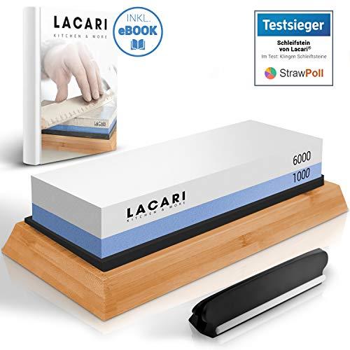 TESTSIEGER: SEHR GUT - Lacari ® Schleifstein [2-in-1] - Messerschärfer Schleifstein Set mit den Stärken [6000/1000] - Genialer Wasser Abziehstein auf rutschfestem Bambusblock
