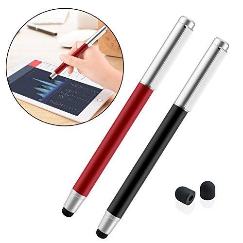 2 x moderner 2in1 Eingabestift/Touchpen, Stylus für Handy & Tablet Touchscreen, iPhone, iPad, Samsung Pen, Smartphones,mit Kugelschreiber und Deckel(Rot + Achwarz) ()