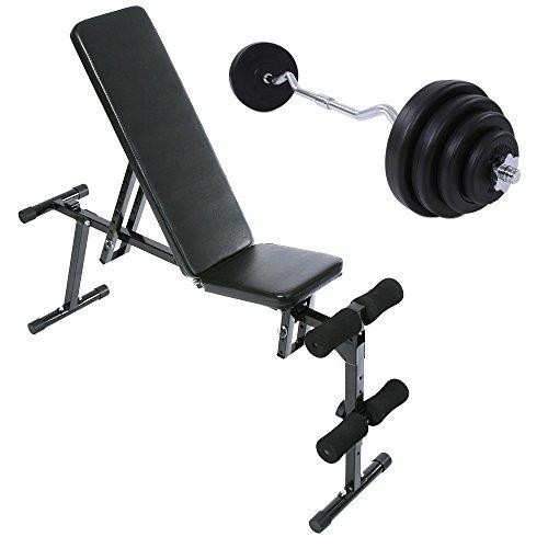 Hantelstange Curl Set 23.5 kg und Hantelbank Set belastbar bis 100 kg Hanteltraining Krafttraining