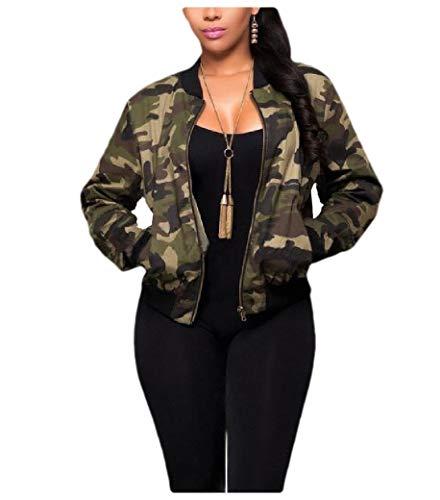 CuteRose Women's Luxury Camouflage Printed Zipper Long Sleeve Coat Jacket 1 M - Printed Long Sleeve Coat