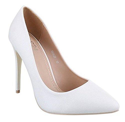Damen Lack Stilettos Pumps High Heels Plateau Schuhe Spitz 5015 (36, Weiß 2)