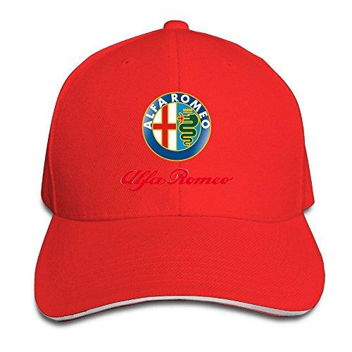 Hittings Alfa Romeo Sandwich Baseball Caps For Unisex Adjustable Red
