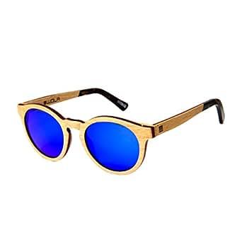 WOLA lunette de soleil bois rond BAUM lunettes rondes bois e acétate femmes hommes beige jBa7kar