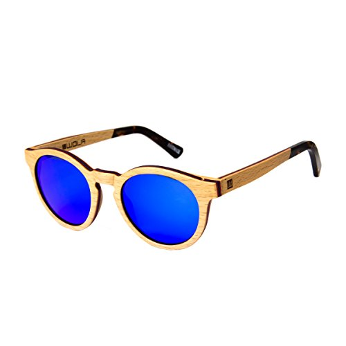 WOLA Damen Sonnenbrille Holz BAUM Brille rund Vollholz und Acetat polarisiert UV400 Birke blau...