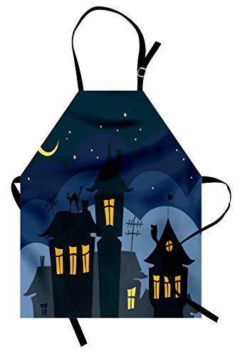 ABAKUHAUS Halloween Kochschürze, Alte Stadt mit Katze auf dem Dach-Nachthimmel-Mond und Stern unterbringt Karikatur-Kunst, Farbfest Höhenverstellbar Waschbar Klarer Digitaldruck, Gelb Schwarz Blau (Stadt Halloween Eine Alte)