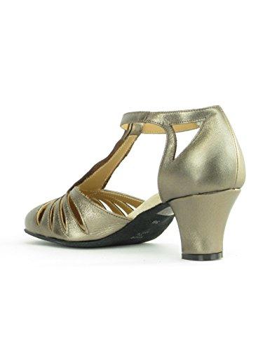 9210 Rumpf Damen Tanzschuhe Balboa Latein Salsa Rumba Tango Ballroom Schuhe Material Leder, Chromledersohle Absatz 5 cm, Made in Italy Bronze/Bronze