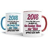 Tassendruck Partner-Tassen Mann, Frau geheiratet / 2018 / Liebe/Ehe / Hochzeits-Tag/Geschenk-Idee / 2er Set/Innen & Henkel Rot und Hellblau