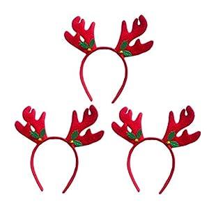 YeahiBaby 3 stücke Rentier Geweih Stirnband mit Glocke Headwear Weihnachten Urlaub Party Haarbänder Haarschmuck für Party Supplies Frauen Mädchen Geschenke (Rot)