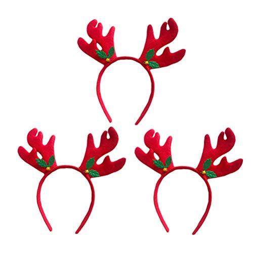 Toyvian 3 Unids Navidad Diadema Reno astas Pelo aro