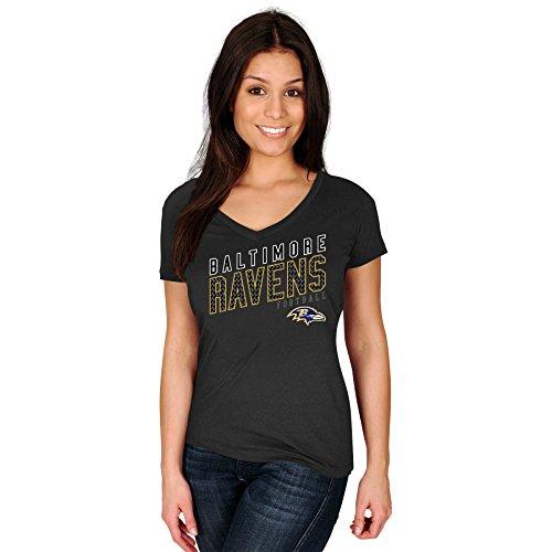 NFL Baltimore Ravens Erwachsene Frauen NFL plusravens S/Baumwolle V-Ausschnitt Tee, 3X, Schwarz (Baumwolle Tee Football V-ausschnitt)