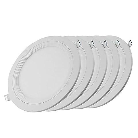 GZQ Ceiling Light 5 Pcs 3W LED Round Panel Recessed Ultra Slim Downlight Lamp Warm White 3000K 225 Lumen Equivalent to
