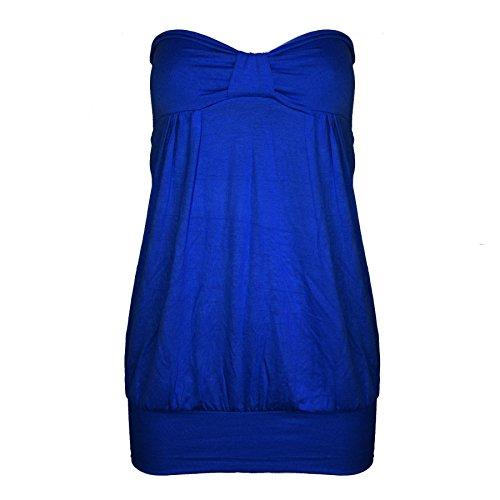 Oops Outlet T-shirt bandeau long décontracté avec nœud devant - Royal Blue - Casual Cocktail Dress Vest Long Top