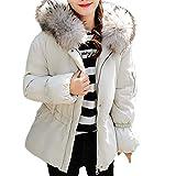 KIMODO Mantel Damen, Jacken Winter Oversize Hoodie Winterjacke Wintermantel Warme Kapuzen Dicke Warme dünne Kurzer Coats Outwear (White, XXL)