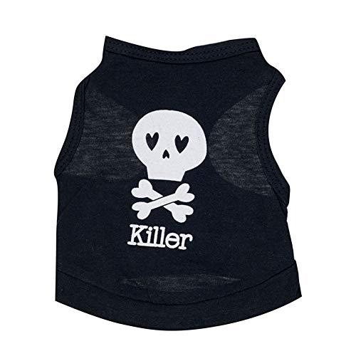 YEZIJIANG Hund Halloween Killer Shirts Baumwolle Cool Summer Pet Puppy Cat T-Shirt Bekleidung
