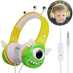 VCOM Auriculares para niños, diseño de Monstruo Chirdren Friendly cómodo niños niñas música Auriculares con limitación del Volumen–para Smartphones Computadoras Tablet Kindle Amarillo Verde