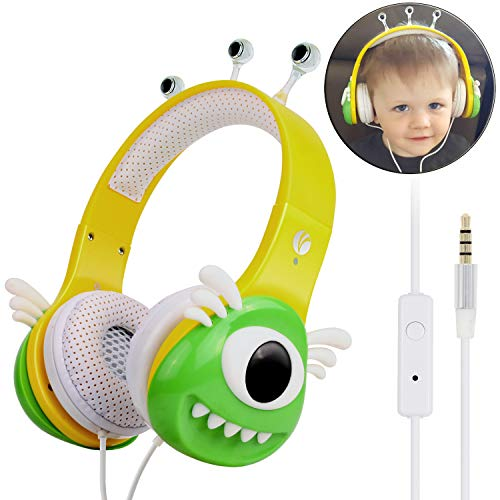 VCOM Kinder Kopfhörer, Verstellbare Mädchen Monster Kinder Kopfhörer Musik Gaming Headsets mit Lautstärke Begrenzender für iPhone iPad Smartphones Tablets Kindle PC Laptop Computers-Gelbgrün