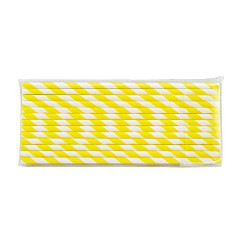Denshine 25x Papierstrohhalme gestreift Strohhalm Papier Trinkhalm für Hochzeit Party Hellblau Weihnachten(Gelb+Weiß) (Gemusterte Papier Strohhalme)
