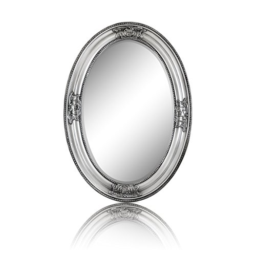 Espejo Pared - Estilo Barroco - Shabby Chic Espejo Grande Ovalado 50x70 cm - Plata