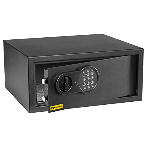 Homesafe HV24E Laptop Tresor Safe mit Elektronischem Schloss, 20x42x38cm (HxWxD), Carbon Satin Schwarz 20 X 42 Satin