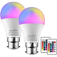 Ascher Color Changing Light Bulb,B22 7W Dimmable RGB LED Bulb,500LM,15 Colours and Warm White,Remote Control,B22 Bayonet Base,Pack of 2,Mood Light for Party Lights,or Decorative Bulbs