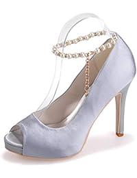 Elegant High shoes5915-16 Femmes de Mariage Talons Hauts/Boucles Peep Toe Party & Office Détails, Blue, 39