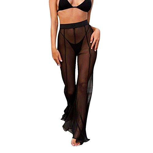 Damen Bikini Cover Up Beach Schlaghose, Mesh Schiere Bademode Transparente Lange Weites Bein Hose Hohe Taille Freizeithose - Transparente Schiere