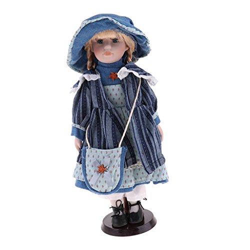 D DOLITY 40cm Porzellan-Puppe mit Halterung, Hübsche Viktorianische Mädchen mit Kleid und Hut - Blau (Hübsches Porzellan Puppen)