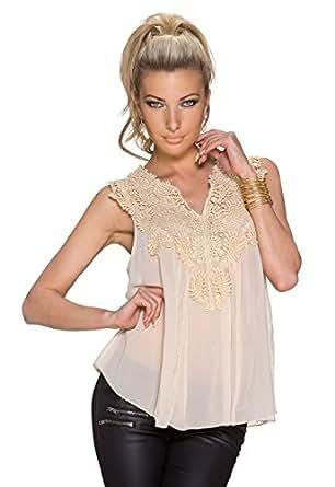 5885 Fashion4Young Damen Locker geschnittenes Sommertop Chifon Shirt Spitze Top 6 Farben V-Ausschnitt (34/36/38, Creme)