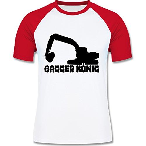 Andere Fahrzeuge - Bagger König - zweifarbiges Baseballshirt für Männer Weiß/Rot
