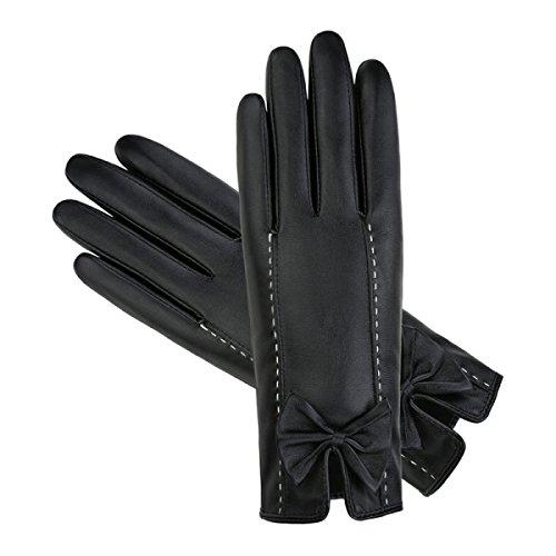 LQABW Lederhandschuhe Damen Reiten Verdickung Wärme Touchscreen Handschuhe Bowknot,A (Kostüm Treiber Baby)