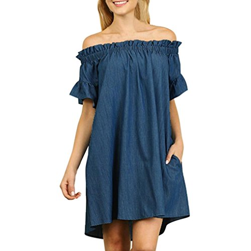 Damen Kleider, GJKK Damen Casual Übergrößeaus Ein Wort Schulter Bardot Denim Look Jeans Kurzarm Shirt Dress Kurzarm Minikleid T-shirt kleid Kurz Cocktail Ballkleid (Blau, L) (Indische Jeans)