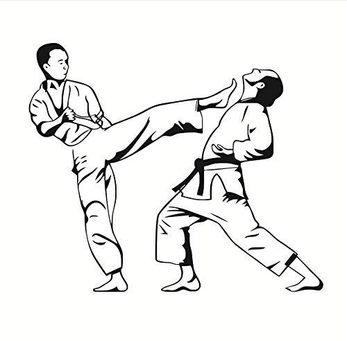 zwyluck PVC Wandaufkleber 3D Kinder Schlafzimmer Karate Kick Spiel Wandtattoo Vinyl Kunstwanddekor Aufkleber Abnehmbare Kämpfer Umriss WandbildWohnkulturZubehör52 * 44 cm