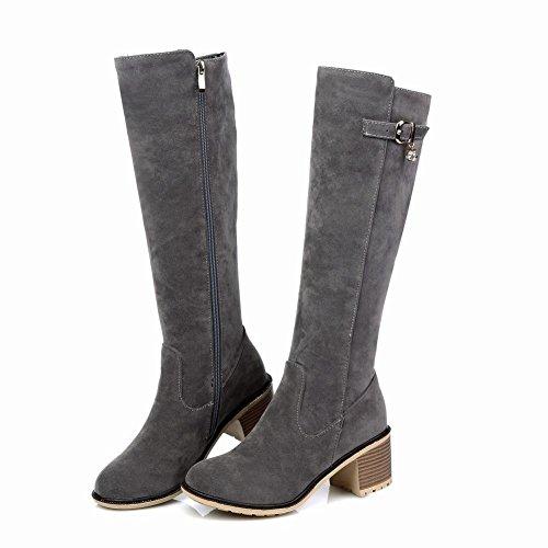 Mee Shoes Damen chunky heels langschaft Nubukleder Stiefel Grau