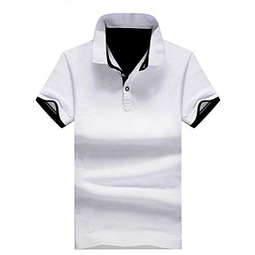 Herren Poloshirt Kurzarm Einfarbig Stehkragen Sommer T-Shirt Fashion Slim Fit Kontrast Polohemd Baumwolle Weiß Schwarz