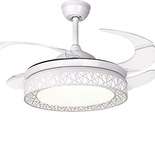 Moerun Ventilador de techo de 42 pulgadas con luz 4 aspas retráctiles LED ventiladores de techo 3 cambios...