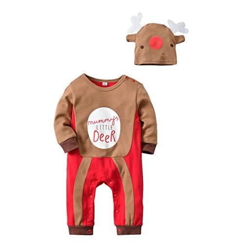 Urmagic Bimbo Natale Set di Tute | Pigiama Costume Babbo Natale Manica Lunga Pagliaccetto Tutine + Cappello | Completini e Coordinati per Neonato | 0-3 Anni