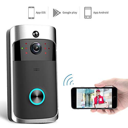 Preisvergleich Produktbild Video Türklingel, Smart Video Doorbell, Wireless VideoTürklingel 1080p HD 360 Grad Weitwinkel Anti-Theft Kamera WLAN IR Nachtsicht,  PIR Bewegungserkennung,  3D Rauschunterdrückung